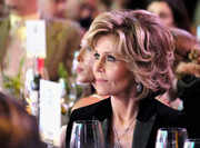 Jane Fonda attended the Global Green pre-Oscar party wearing her hair in a textured bob.