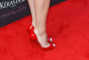 Aubrey Plaza attended the Young Hollywood Awards wearing a pair of red-hot peep-toes.