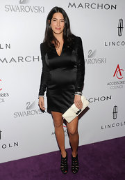 Rebecca Minkoff donned a chic satin black dress at the ACE awards in NYC. She topped off her look with edgy black strappy sandals.