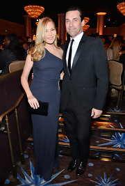 Jennifer Westfeldt cut a svelte figure in a navy one-shoulder column dress at the Costume Designers Guild Awards.