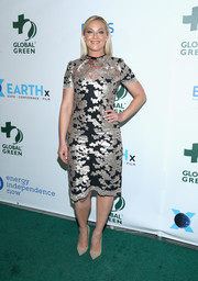 Elisabeth Rohm shone in a silver and black lace dress at the Global Green pre-Oscars gala.