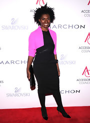 Constance kept it classy and modern in this black dress and hot pink shrug at the ACE Awards.