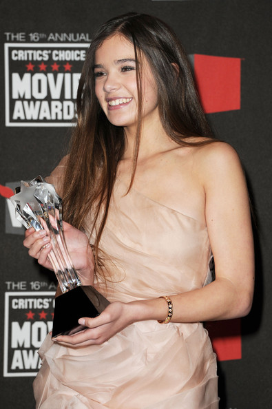 More Pics of Hailee Steinfeld Diamond Bracelet (5 of 15) - Hailee Steinfeld Lookbook - StyleBistro [true grit,premiere,dress,muscle,brown hair,cocktail dress,hailee steinfeld,best young actor/actress,room,press room,hollywood palladium,los angeles,california,critics choice movie awards]