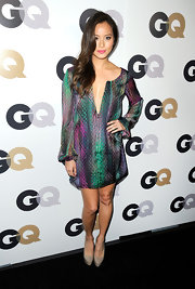 Jamie Chung paired her colorful tunic dress with nude platform pumps.