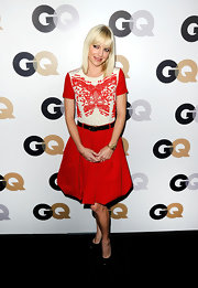 Anna Faris topped off her whimsical red dress at the GQ soiree with black patent leather pumps.