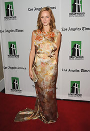 Kerry looked suited for spring in this yellow satin floral gown at the Hollywood Film Awards Gala.