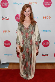 Kimberly Van Der Beek chose a boho-style frock for her red carpet look at the Big City Moms event.