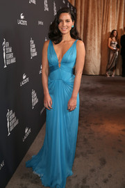 Olivia Munn looked like a modern-day goddess in this draped blue J. Mendel gown during the Costume Designers Guild Awards.
