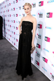 Evan Rachel Wood looked regal in a strapless embroidered black gown at the Critics' Choice Awards.
