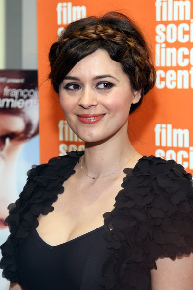 Emilie Simon attended a screening of 'Delicacy' wearing her hair styled in an adorable braided halo with side-swept bangs.