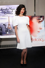 Audrey Tautou looked quite avant-garde in this nubby textured knit dress at the Rendez-Vous With French Cinema.