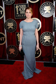 Jenna looked lovely in a dove blue beaded evening dress at the SAG Awards.