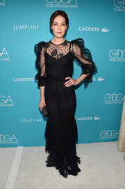 Michelle Monaghan looked appropriately elegant at the Costume Designers Guild Awards in a black Dolce & Gabbana lace gown that wouldn't look out of place in a period film.