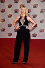 Ellie Goudling shows off some skin in a sexy lace-up black jumpsuit