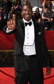 Amare paired his classic tuxedo suit with a black bowtie.
