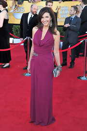 Mary was stunning in a burgundy matte jersey halter gown with crystal beaded accent.
