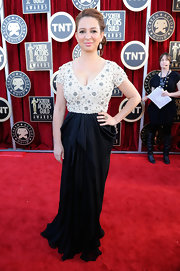 Maya Rudolph wore a beaded gown with a draped black skirt to the SAG Awards.