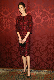 Hilary Rhoda looked breathtakingly elegant in a crystal-encrusted red dress by Dolce & Gabbana during the 19th Annual Artwalk NY.
