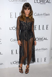Lea Michele showed off her tan self in this sheer bodysuit dress at the Women in Hollywood Celebration.