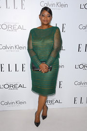 Octavia looked simply lovely in this delicate green lace dress at the Women in Hollywood Celebration.
