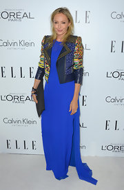 Lubov looked striking in this cobalt gown and funky moto jacket at the Women in Hollywood Celebration.