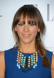 Rashida pulled off a messy braid smashingly with her thick bangs.