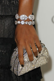 Serena Williams paired her elegant look with a wrist full of diamond bracelets.