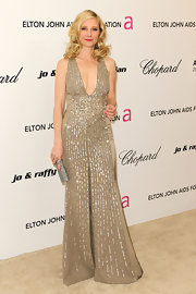 Anne was a shining beauty at Elton John's Oscar party in a beaded champagne evening gown.