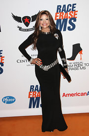 La Toya Jackson rocked this long-sleeved black evening gown with ample crystal adornment.