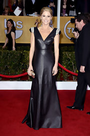 Julie Bowen went all out in the leather trend with this long shoulder-adorned gown at the SAG Awards.