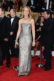 Helen Hunt shined at the SAG Awards in this strapless silver sequined gown.