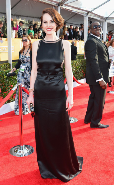Michelle Dockery Wore a Black Silk Satin Gown at the 2013 SAG Awards