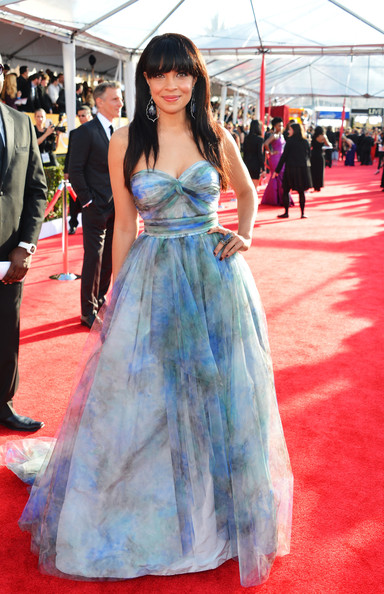 Zuleikha Robinson Wore a Watercolor Print Blue Ballgown at the 2013 SAG Awards
