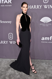 Hilary Rhoda oozed sexy sophistication in a dual-textured halter gown by Brandon Maxwell at the amfAR New York Gala.