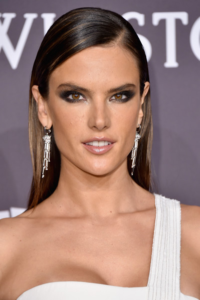 Alessandra Ambrosio opted for a neat, straight hairstyle when she attended the amfAR New York Gala.