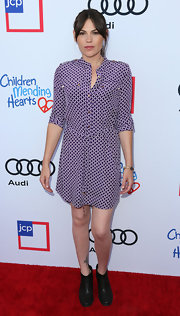 Clea DuVall looked smart at the Children Mending Hearts Style Sunday in her purple print shirtdress.