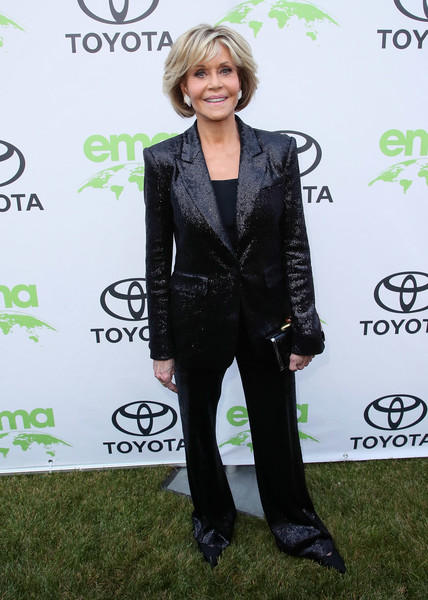 Jane Fonda went androgynous in a shiny black suit at the Environmental Media Association Honors Benefit Gala.