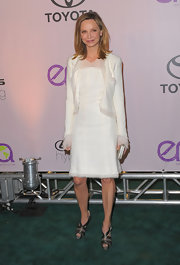 Calista Flockhart opted for an all-white look with this soft white dress and matching blazer.
