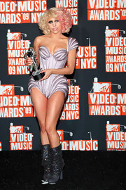Lady Gaga showed off her moon man at the MTV Video Music Awards in sparkling boots from the Fall 2009 collection.