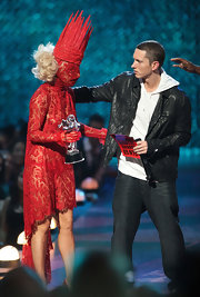 Eminem wore a soft leather jacket over his hoodie.