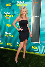 Aly Michalka paired her pumps with a simple black cocktail dress.