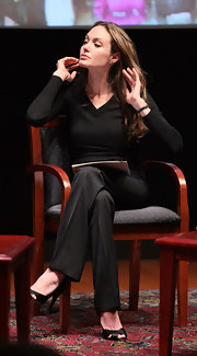 Angie looks ready for business, in all black.