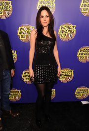 Mary-Louise Parker posed for the cameras at the mtvU Woodie Awards in a sequined little black dress.