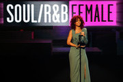 Singer Rihanna accepts the Soul/Rhythm & Blues Music - Favorite Female Artist award onstage during the 2010 American Music Awards held at Nokia Theatre L.A. Live on November 21, 2010 in Los Angeles, California.