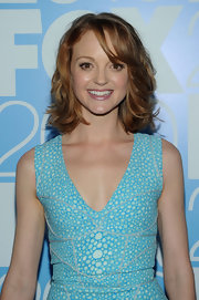 """Glee"" Actress Jayma Mays showed off her stylish side while walking the red carpet in a Brian Reyes dress and a wavy hairdo."