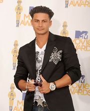 Pauly D. rocked a blinged-out watch to complete his signature 'Jersey Shore' style.