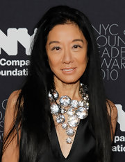 Vera flaunted a large crystal gemstone necklace while attending a gala in New York. The designer loves to spice up her black ensembles with decadent baubles.
