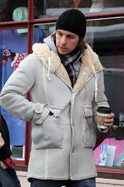 Dax Shepard looked super cozy in his fur-lined suede jacket at the Sundance Film Festival.