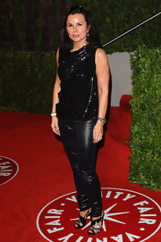 Patty Smyth finished off her ultra-glam ensemble with black and silver strappy sandals.