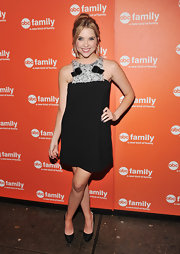 Ashley Benson paired her girly frock with a pair of glittery black pumps.